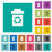 Recycle bin square flat multi colored icons