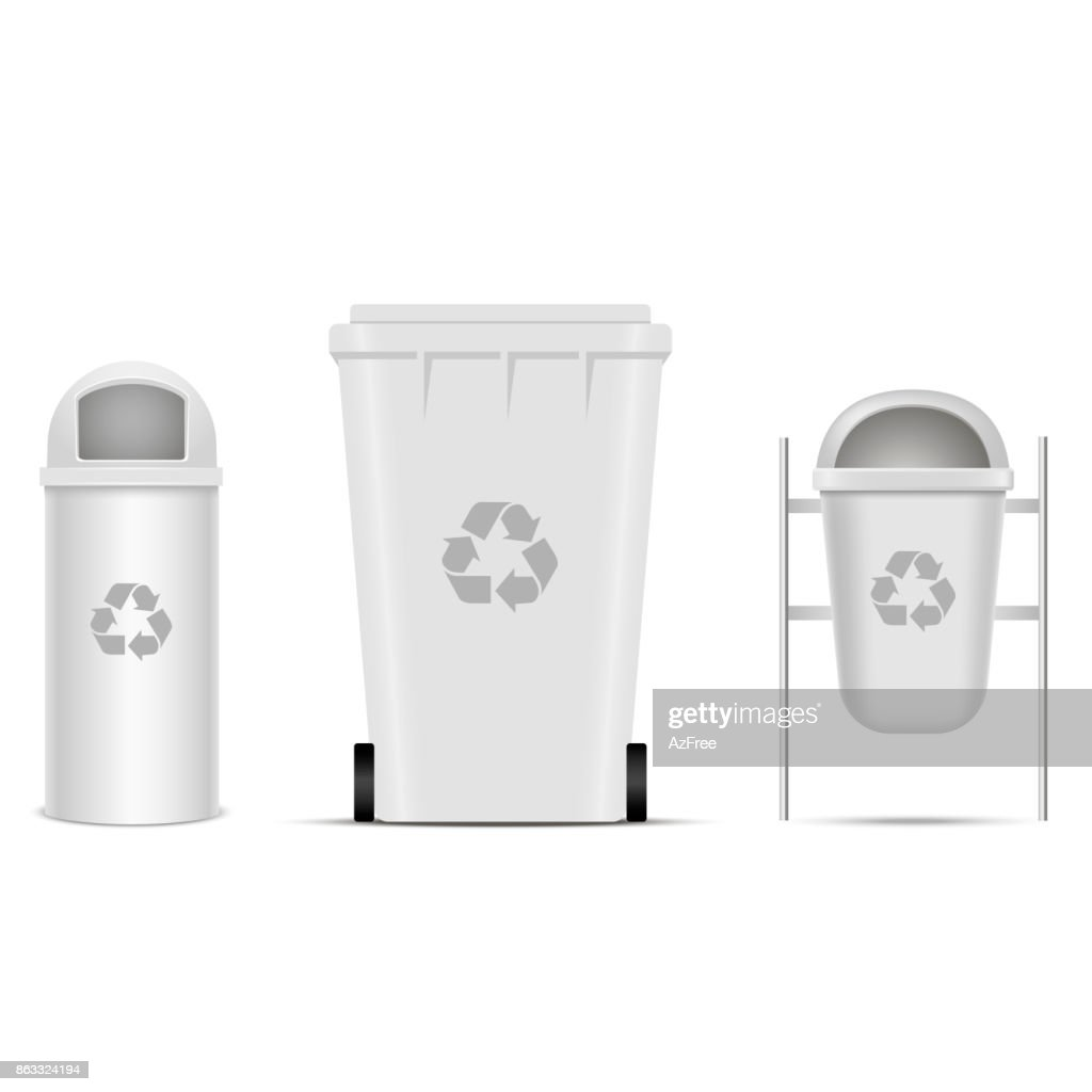 Recycle bins for trash and garbage. Vector.