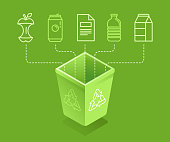 Recycle concept - sorting and recycling different types of garbage