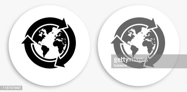 recycle globe black and white round icon - recycling symbol stock illustrations