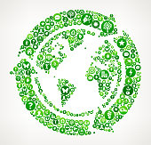 Recycle Globe Nature and Environmental Conservation Icon Pattern