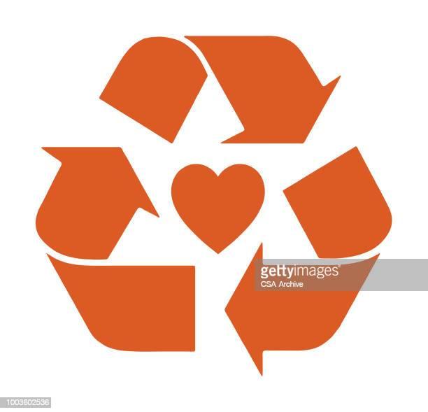 recycling herz - recycling stock-grafiken, -clipart, -cartoons und -symbole