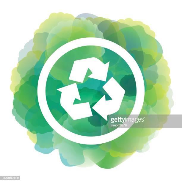 Reciclar icono de fondo acuarela de color verde