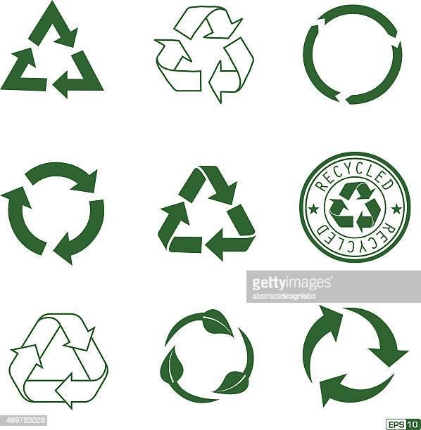 stockillustraties, clipart, cartoons en iconen met recycle icon pack - continuïteit