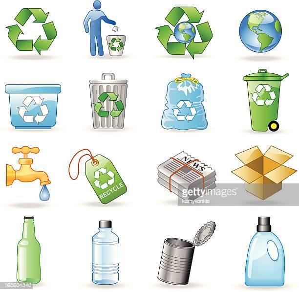 ilustrações, clipart, desenhos animados e ícones de ícones de reciclagem - papelão papel