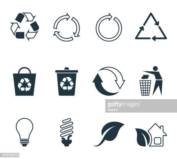 ilustraciones, imágenes clip art, dibujos animados e iconos de stock de reciclar los iconos - con eficaz consumo de energía