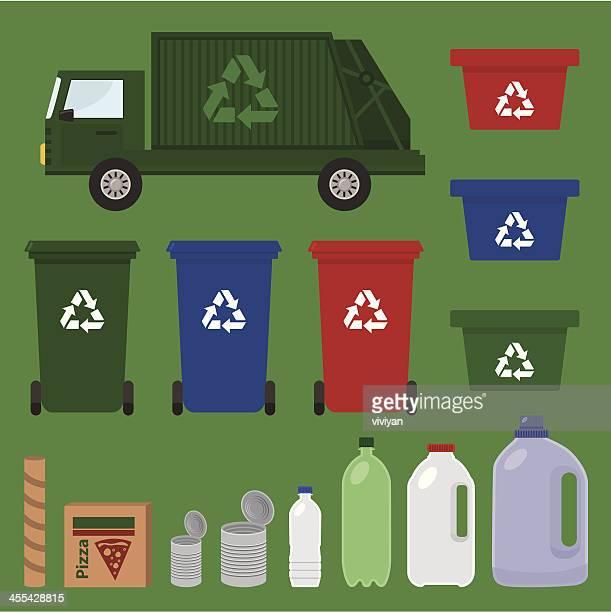 illustrations, cliparts, dessins animés et icônes de recycler les articles - poubelle
