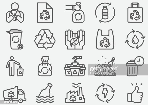 stockillustraties, clipart, cartoons en iconen met pictogrammen voor recycle lijn - fles