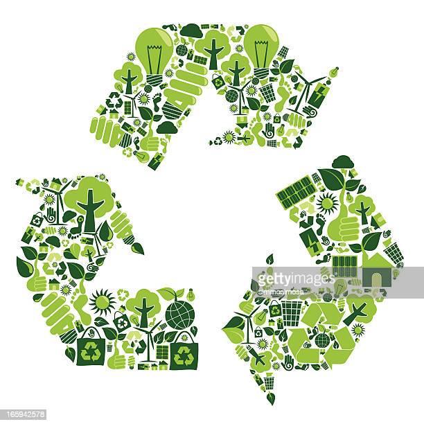 recycling montage über grüne recycling symbole - recycling stock-grafiken, -clipart, -cartoons und -symbole