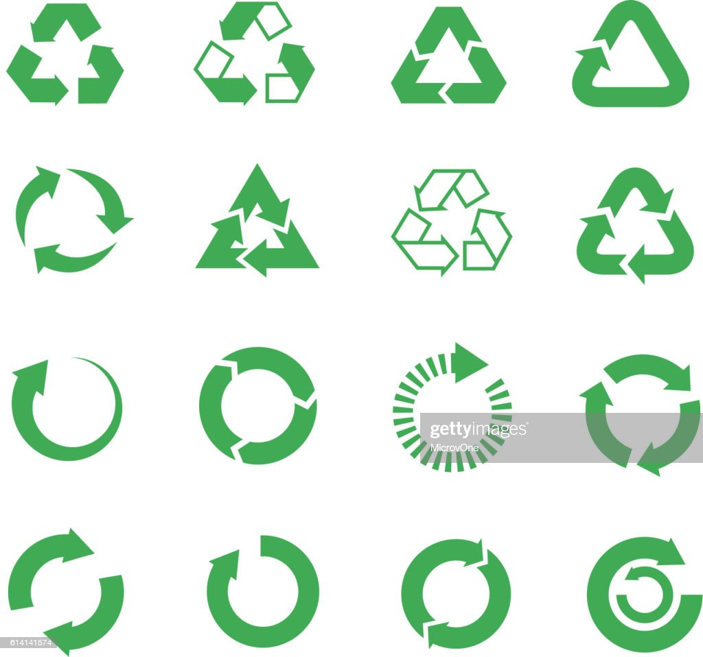 Recycle, raw materials vector icons set