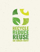 Recycle Reduce Reuse Rough Eco Green Banner Concept