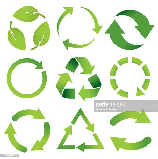 recycle set icon - ecosystem stock illustrations