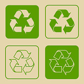 Recycle Symbol Set Isolated
