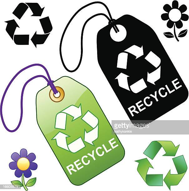recycle tags - luggage tag stock illustrations, clip art, cartoons, & icons