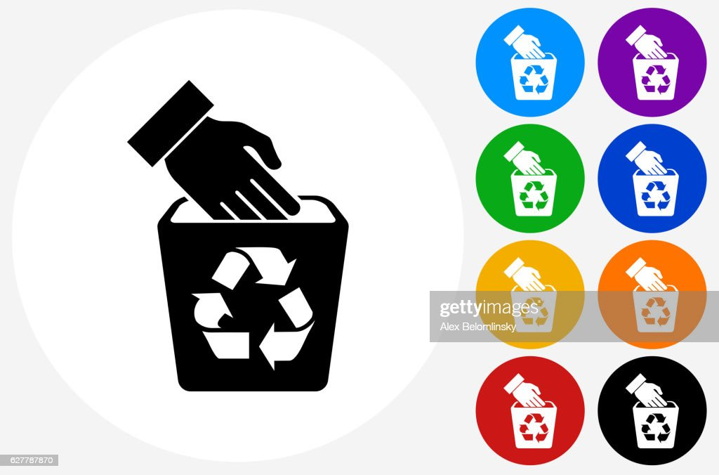 Recycle Trash Bin Icon On Flat Color Circle Buttons Vector Art