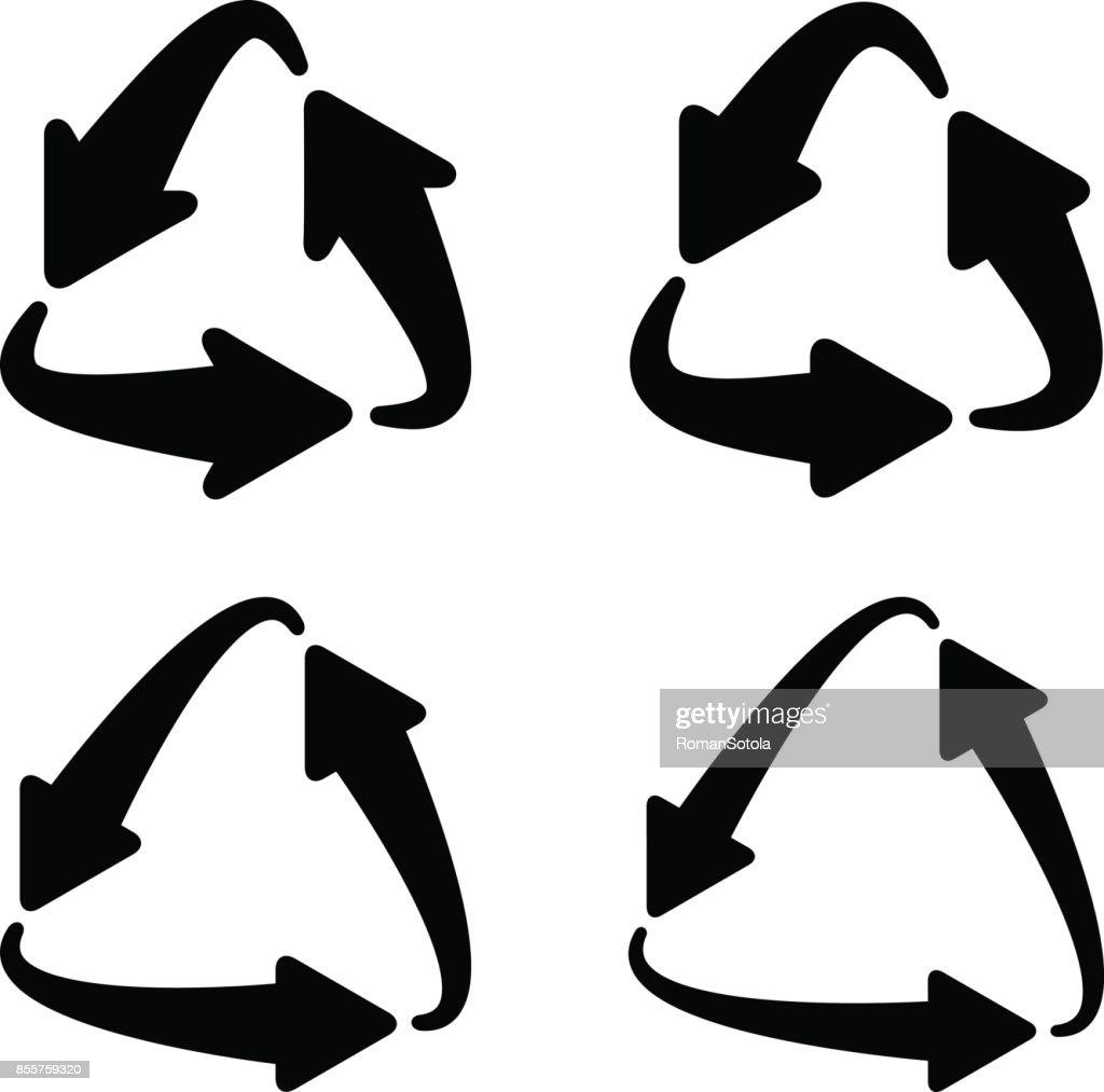recycle triangular arrow eco symbol vector