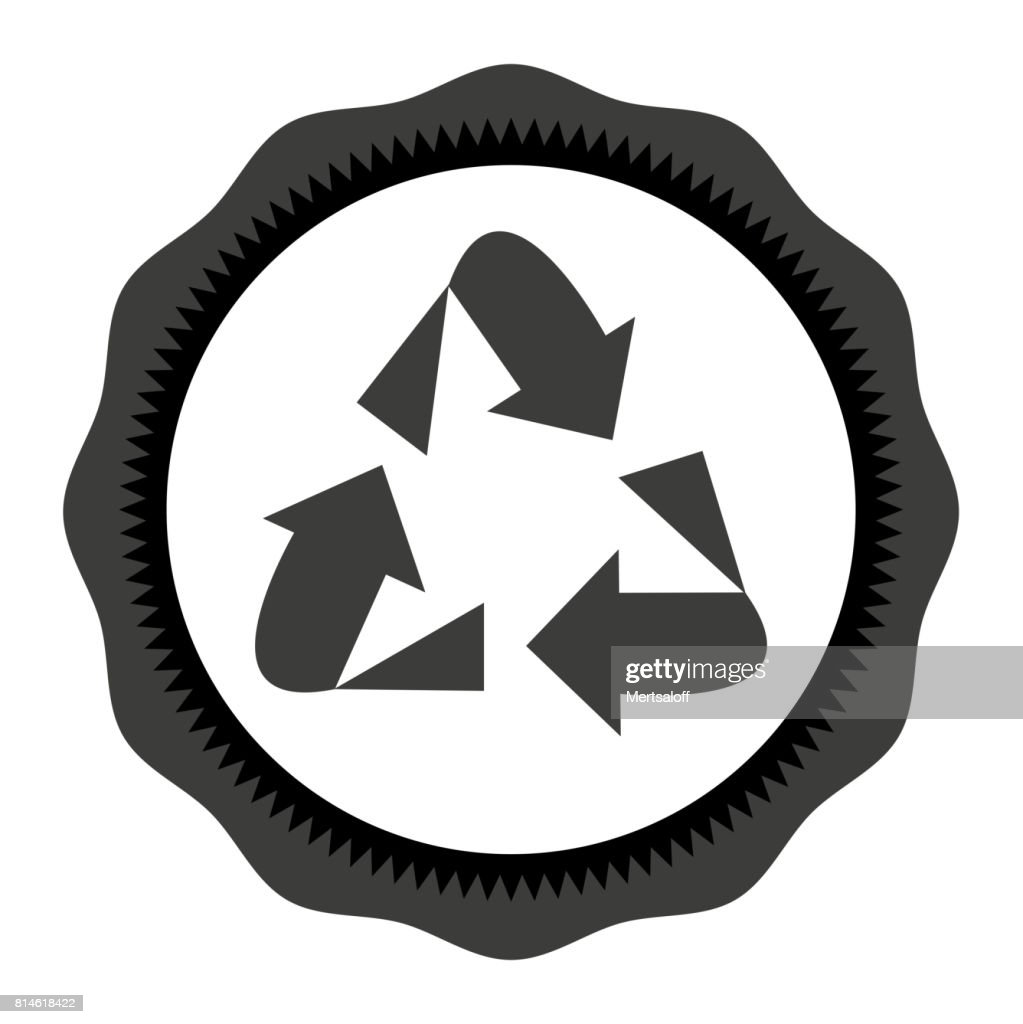 Recycle vector icon Style is flat symbol, gray color, rounded angles, white background