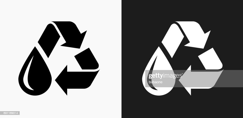 Recycle Water Icon On Black And White Vector Backgrounds Vector Art
