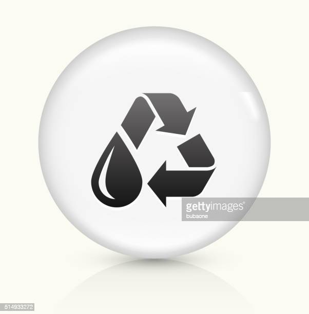 recycle water icon on white round vector button - water treatment stock illustrations, clip art, cartoons, & icons