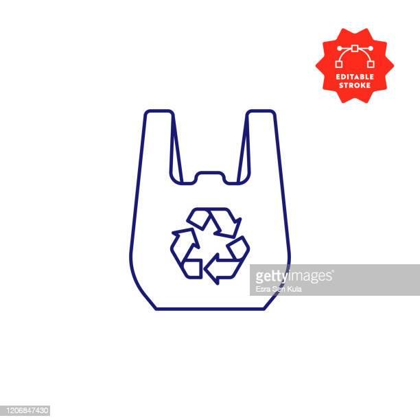 編集可能なストロークとピクセルパーフェクトとリサイクル可能なバッグラインアイコン。 - ビニール袋点のイラスト素材/クリップアート素材/マンガ素材/アイコン素材