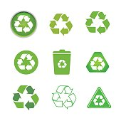 Recycled cycle arrows vector icon set illustration isolated on white background. Recycled eco vector icon