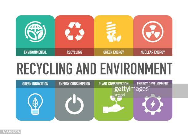 Recycling and Environment Colorful Icons Set