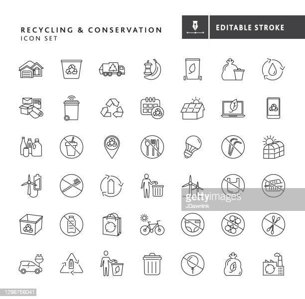 recycling und umweltschutz icon set - plastikmaterial stock-grafiken, -clipart, -cartoons und -symbole