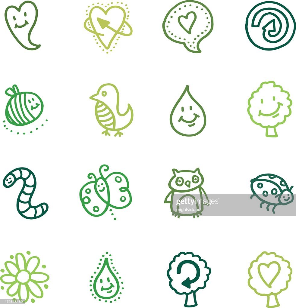 Recycling and nature doodle icon set