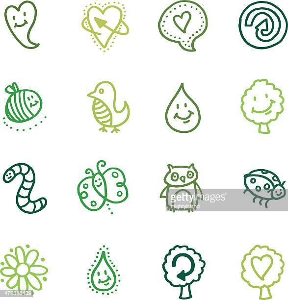 illustrations, cliparts, dessins animés et icônes de le recyclage et la nature doodle icône set - coccinelle