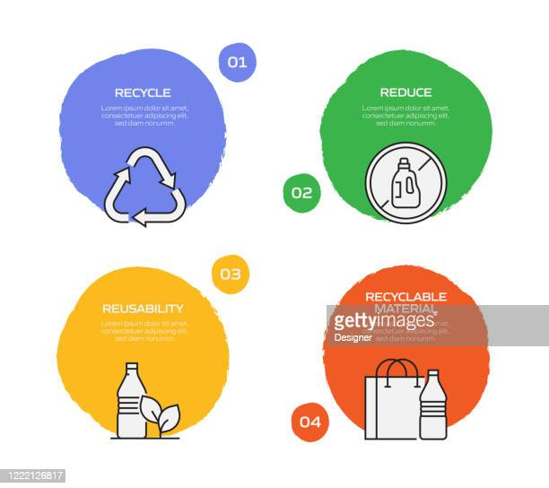 recycling and zero waste infographic template, elements and icons. simple vector infographic design - recycling stock illustrations