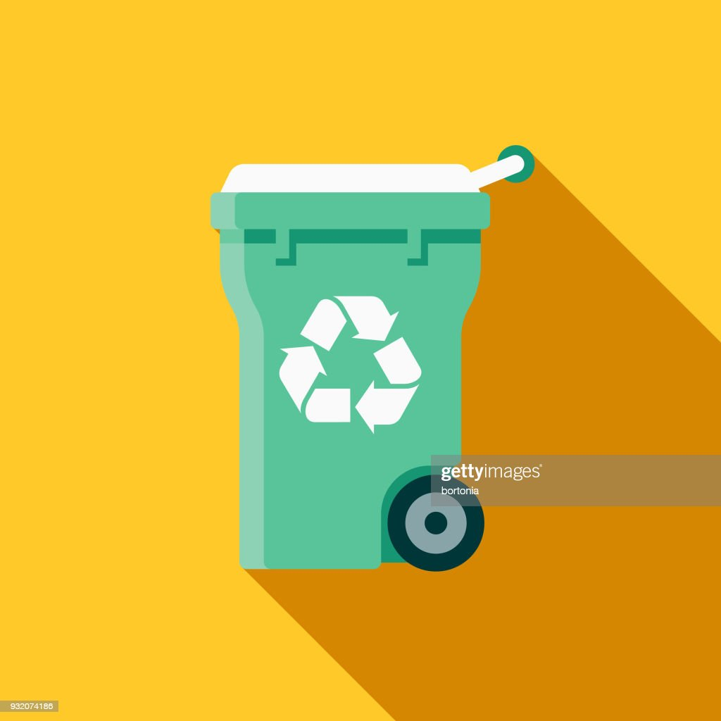 Recycling Bin Flat Design Cleaning Icon with Side Shadow