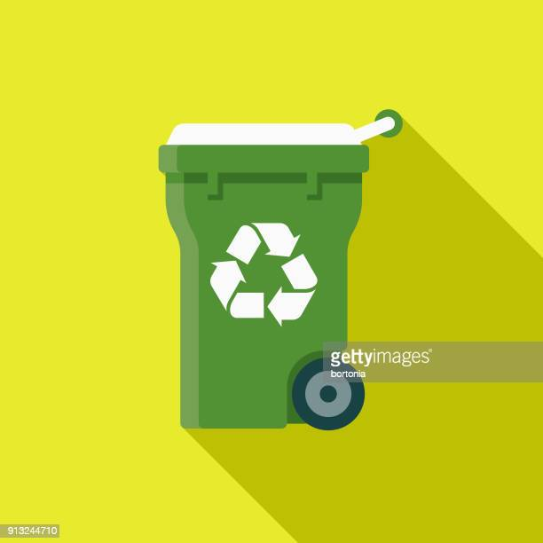 recycling bin flat design environmental icon - garbage can stock illustrations