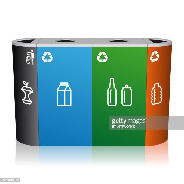 illustrations, cliparts, dessins animés et icônes de poubelle de recyclage - poubelle