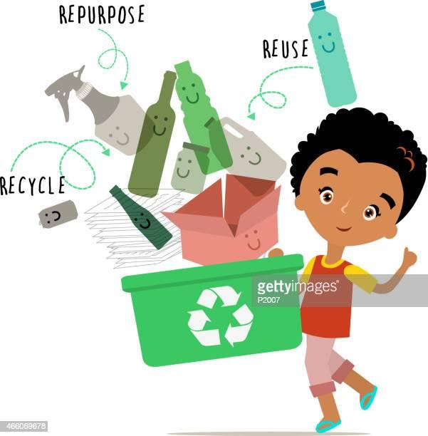 Garçon Concept de recyclage