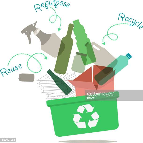 recycling concept - recycling bin stock illustrations