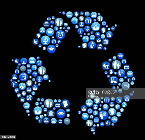 Recycling E-learning and College Education Blue Button Pattern