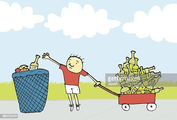 recycling entrepreneur - sociology stock illustrations, clip art, cartoons, & icons