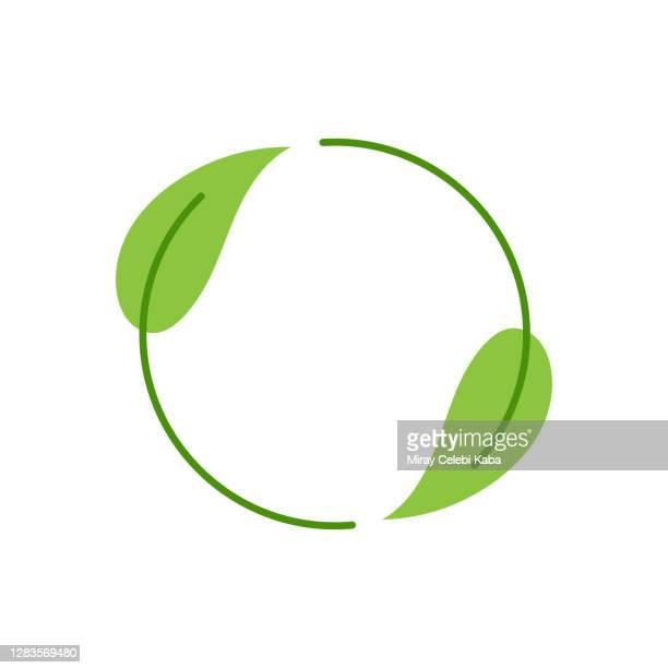 recycling-umwelt-label mit weißem hintergrund - umwelt stock-grafiken, -clipart, -cartoons und -symbole