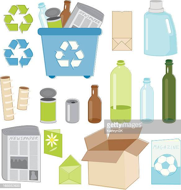 recycling essentials - paper towel stock illustrations, clip art, cartoons, & icons