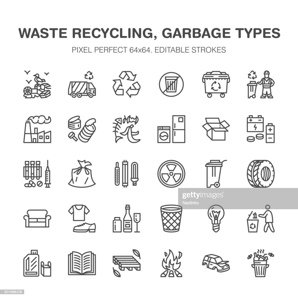 Recycling flat line icons. Pollution, recycle plant. Garbage sorting types - paper, glass, plastic, metal, flammable trash. Thin linear signs for waste management. Pixel perfect 64x64
