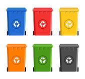 recycling garbage container set Flat Design