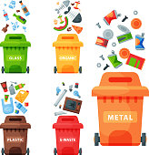 Recycling garbage elements trash bags tires management industry utilize waste can vector illustration