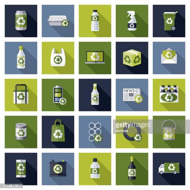 recycling icon set - recyclingsymbol stock-grafiken, -clipart, -cartoons und -symbole