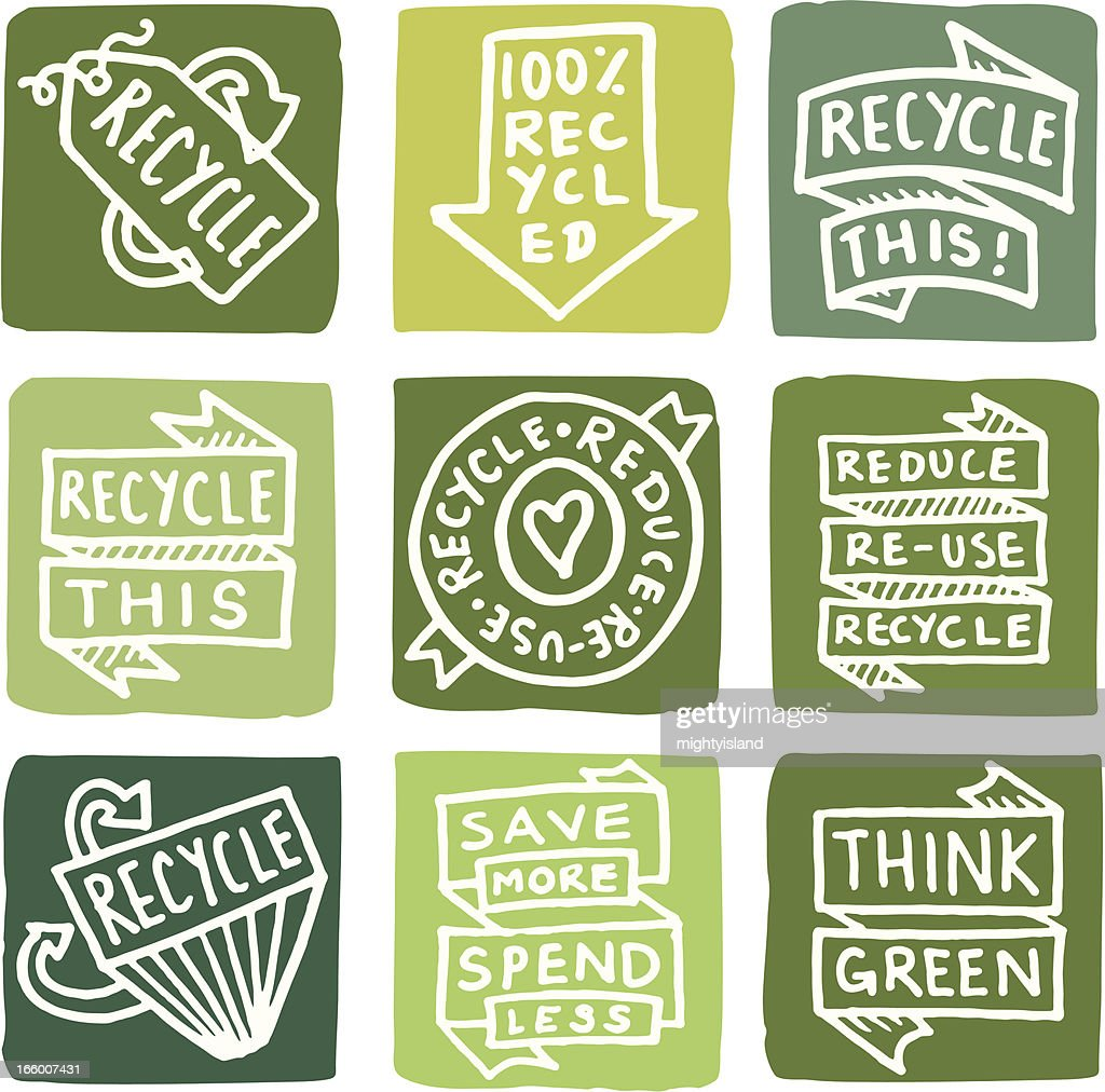 Recycling icons icon block set