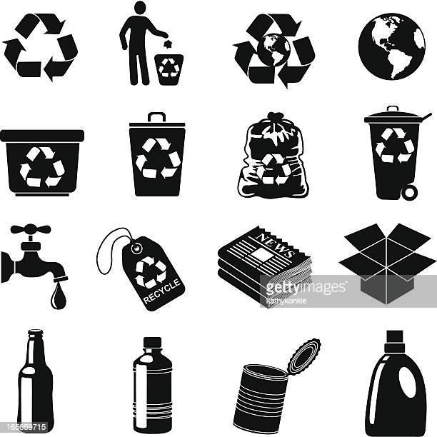 illustrations, cliparts, dessins animés et icônes de icônes de recyclage - poubelle