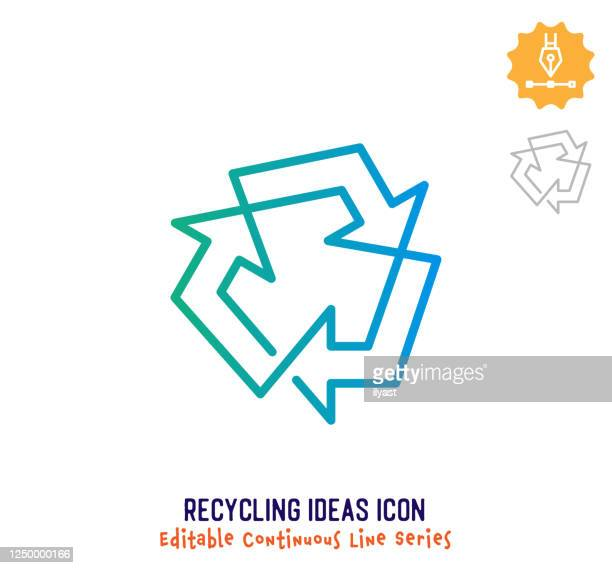 recycling ideas continuous line editable icon - recycling symbol stock illustrations