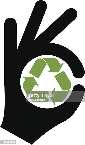 recycling is good - ok sign stock illustrations, clip art, cartoons, & icons