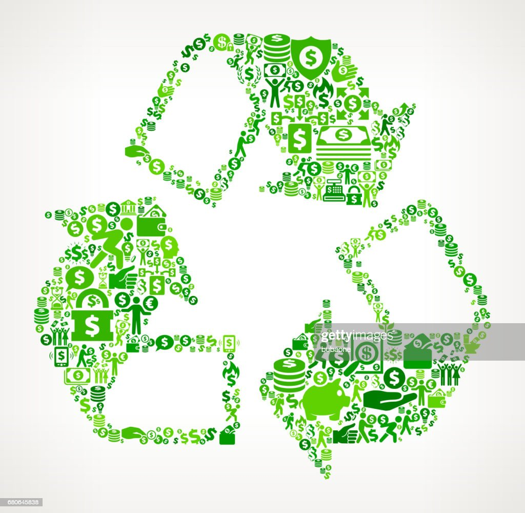 Recycling   Money and Finance Green Vector Icon Background