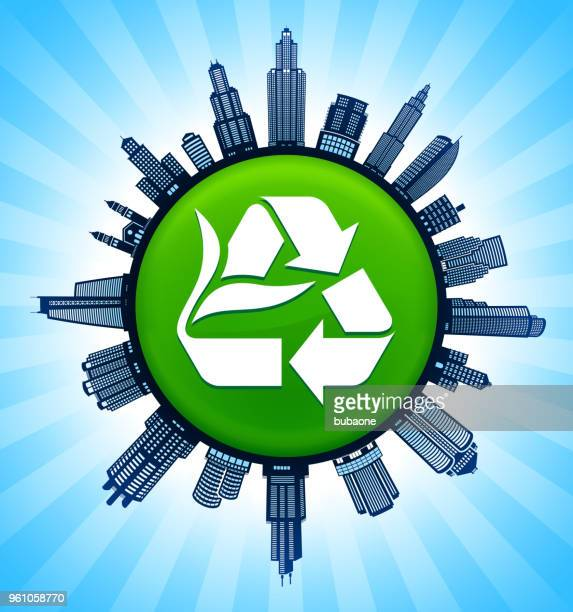 recycling sign on modern cityscape skyline background - commercial real estate sign stock illustrations