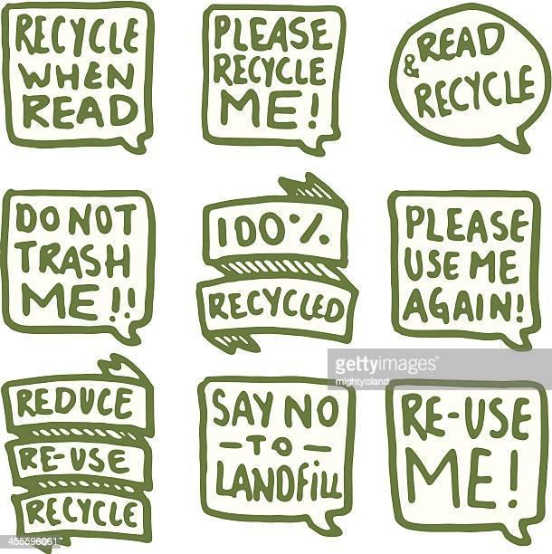 Recycling speech bubble icon set